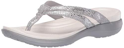 crocs Damen Capri Strappy Flip W Dusch-& Badeschuhe, Silber Silver 00n, 42/43 EU