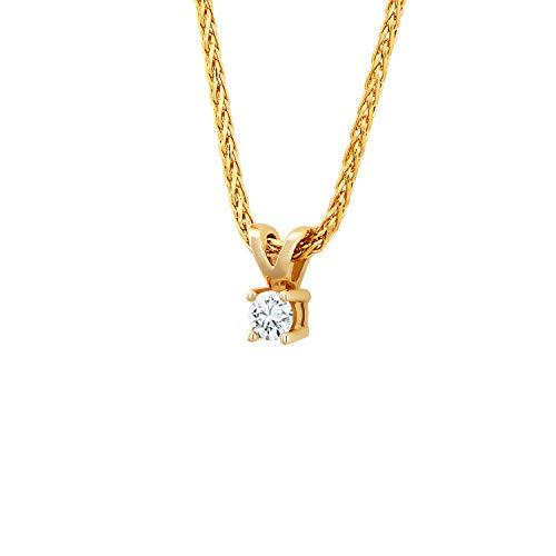 Diamond Line Diamant-Goldkette mit Diamant-Anhänger 585 Gold mit 1 Diamanten 0.07ct.