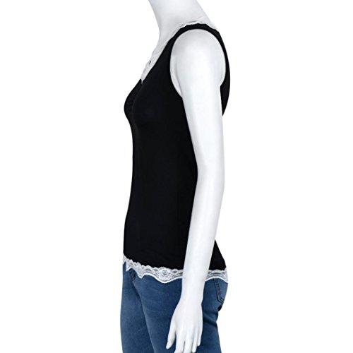 Amlaiworld Gilet donna,Canottiere di estate Gilet Top camicetta senza maniche t-shirt Nero