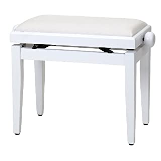 Steinmayer Pianobank Weiß-matt (Höhenverstellbar von 47-56cm, Spindelmechanik, Sitzfläche 55 x 32cm, weißer Velourbezug, stabil)