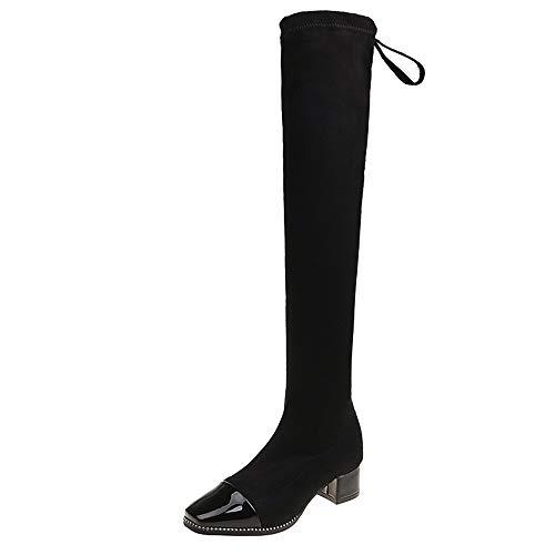 Fenverk Damen Hohe Stiefel Stiefeletten Boots Flandell Mit Blockabsatz Profilsohle Plateau Vorne Ankle Aus RahmengenäHter Sohle(Schwarz,39/38.5EU)