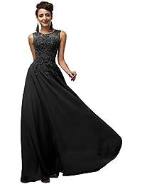 GRACE KARIN Lange Damen Abendkleider Ballkleider Partykleider Ärmellos Chiffon Kleid für Hochzeit Brautjungfer- Gr. 42, Cl7555-3