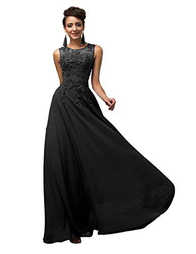 GRACE KARIN Vestidos Negros Elegante Dulce Vestido de Boda Dama de Honor  Prom Tallas Grandes 50 93691306886