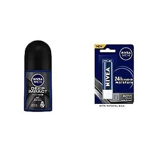 NIVEA Men Deodorant Roll On, Deep Impact Freshness, 50ml & NIVEA Men 24 H melt-in mpisture Active Care clearing Lip Balm, SPF 15, 4.8g