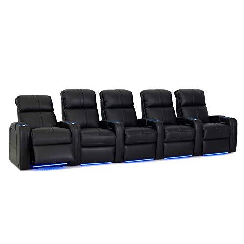 Octane Seating Flash HR Heimkinositz, schwarzes genarbtes Leder - Power Recline - beleuchtete Getränkehalter - Reihe mit 5 Sitzen -