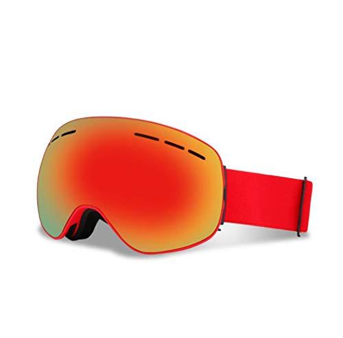 JBHURF Skibrille, Anti-Fog-UV-Schutz Winter Schnee Sport Snowboard Brille Doppelobjektiv Für Männer Frauen Schneemobil Skifahren Skating (Farbe : Red)