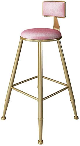 JYFXP Tresenhocker Küche Hausbar Möbel 45/65/75 cm Pub Bar Höhe Barhocker, Moderne Zeitgenössische Esszimmer Café Barhocker Stühle mit Rosa Samt Sitz und Rückenlehne, Metall/Eisen-Finish