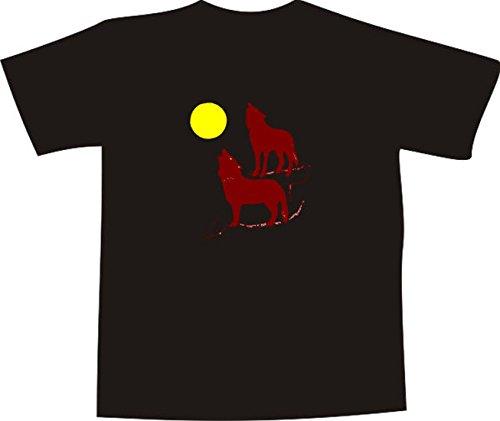 T-Shirt E722 Schönes T-Shirt mit farbigem Brustaufdruck Farbe nach Wahl XXL - Logo / Grafik - Comic Design - Silhouette von Wölfen und Vollmond (T-shir Wolf)
