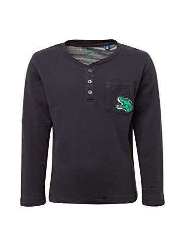 TOM TAILOR für Jungen T-Shirts/Tops Henley-Shirt mit Dino-Stickerei Dark Navy|Blue, 104/110 - Baumwolle Bestickt Verziert Top