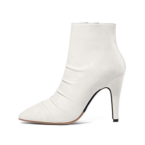 MENGLTX High Heels Sandalen Herbst Winter Warme Stiefel Big & Small 28-52 Größe Spitz Frauen Knöchel Reißverschluss High Heels Fashion Hochzeit Schuhe Frau 14 Weiß -