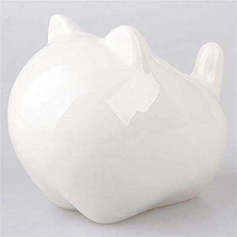 Mini in ceramica, soggetto: gatto, colore: bianco, motivo: gattino con