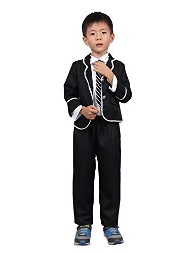 dPois 4 PCS Kinder Schuluniform Japanischen Anime Kostüm Smoking Anzug Klassische Navy Matrosenanzug JK Cosplay Kostüm Festlich Kleidung Set Gr. 104-152 Schwarz Jungen - Schuluniform Kostüm Junge