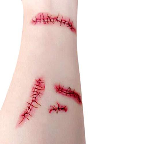 Vovotrade Tattoos Narben Wunden Horror Ritzen Helloween Temporäre Tattoos Halloween Zombie Scars Tattoos Aufkleber mit gefälschten Scab Blut Spezial Kostüm Makeup (Rot)