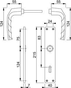 Langschild-Drückergrt. Birmingham 1117/202SP OB VK 8mm Entf. 72mm A.-232169