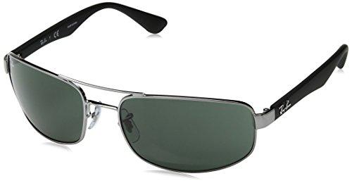 Ray-Ban Unisex Sonnenbrille Rb 3445, Mehrfarbig (Gestell: Gunmetal/Schwarz, Gläser: Grün Klassisch 004), X-Large (Herstellergröße: 61)