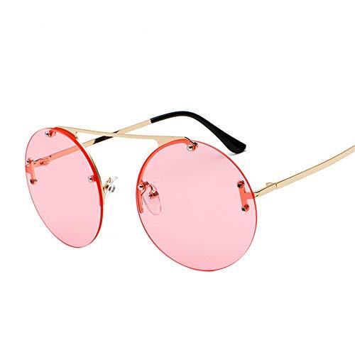 Sonnenbrille rahmenlose große runde Linse ozean stück brille mode trend sonnenbrille hd street style brille für männer und frauen, gold rahmen rosa stück