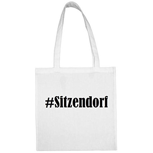 Tasche#Sitzendorf Größe 38x42 Farbe Weiss Druck Schwarz