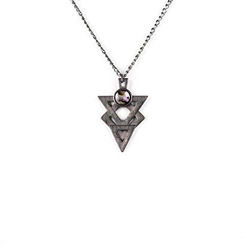 La canaglia e il lupo, la canaglia e il lupo, Glifo di odio collana lunga in acciaio (ardesia)-3d stampato gotico gioielli-Gotico Stampa 3d