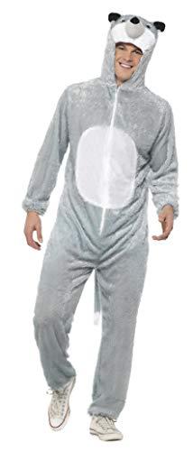 Smiffys, Unisex Wolf Kostüm, Jumpsuit mit Kapuze, Größe: L, 31673