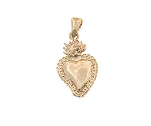 Pendente Sacro Cuore in argento 925 sterling anallergico placcato oro rosa,dimensione 2 cm