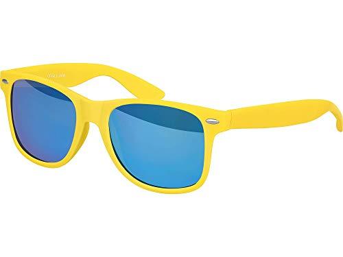 Balinco Hochwertige Nerd Sonnenbrille Rubber im Wayfarer Stil Retro Vintage Unisex Brille mit Federscharnier - 96 verschiedene Farben/Modelle wählbar (Gelb - Blau verspiegelt)
