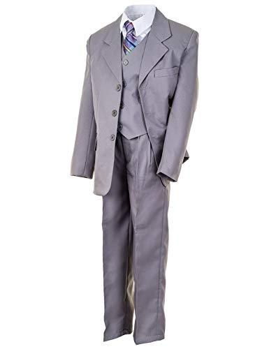 WEI KE XI Festlicher 5tlg. Jungen Anzug in vielen Farben mit Hose, Hemd, Weste, Krawatte und Jacke M313gr Grau Gr. 14/152 / 158 (Kirche Krawatten Für Jungen)