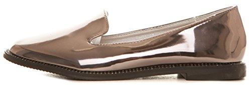 CAPRIUM Halbschuhe Loafers Ballerinas Metallic Schuhe Flats, Damen 0000Y01 Grau Metallic