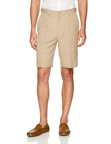 Haggar Herren Cool 18 PRO Straight Fit Stretch Solid Flat Front Legere Shorts, hautfarben, 56