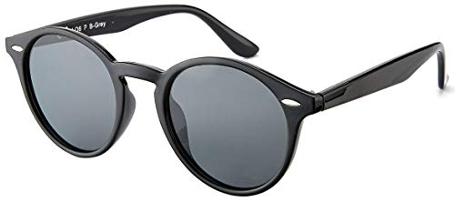La Optica UV 400 Damen Herren Retro Runde Sonnenbrille Round - Einzelpack Glänzend Schwarz (Polarisierte Gläser: Grau)
