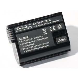 Maxsimafoto - ENEL15, EN-EL15 complètement compatible 1900mAh. Batterie pour NIKON D750, D600, D610, D800, D800E, D810, D7000, D7100, Nikon 1 V1, Décod é.