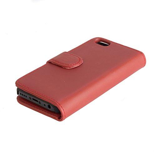 Snakehive® Apple iPhone 5C cuir enduit étui portefeuille avec compartiments pour cartes bancaires / billets pour Apple iPhone 5C (Noir) Brun Roux