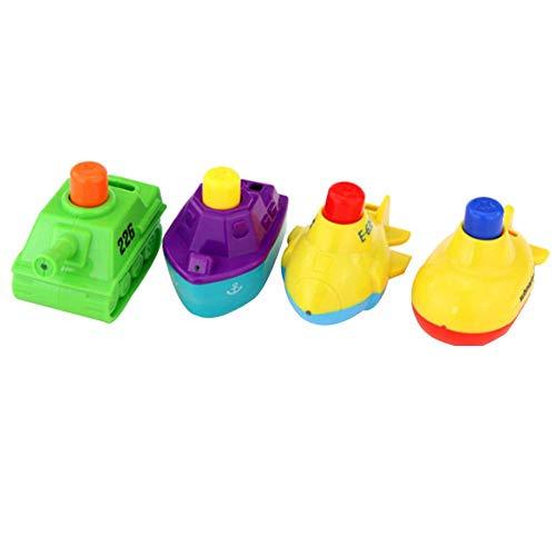 Fliyeong Badespielzeug für Jungen und Mädchen Wasser Jet Tanks Flugzeuge Schiffe U-Boot Badewanne Spielzeug für Jungen und Mädchen 1 Satz 4 Stücke langlebig und nützlich