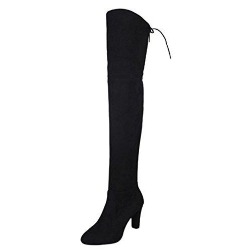 Zapatos de mujer Botines Zapatos de mujer tacones altos Botas de mujer sobre la rodilla Señoras Otoño invierno Moda Tramo Faux Delgado Alto Botas LMMVP (37, Negro)