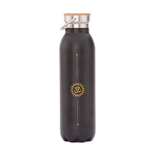 BODHI Edle Isolier-Trinkflasche aus Edelstahl, Kratzfest, auslaufsicher, 600 ml, mit Yoga-Motiv OM Bedruckt, perfekt für Hot Yoga und Yoga Festivals
