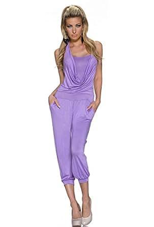 4093 Fashion4Young Damen ärmelloser Jumpsuit Overall Hosenanzug im Neckholder-Style 4 Faben Gr. (34 36 38) (34/36/38, Lila)