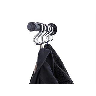 Garderobenleiste Schwarz Metall 31cm mit 5 Haken Hakenleiste Handtuchhalter mit Wandhaken, Industrial Design