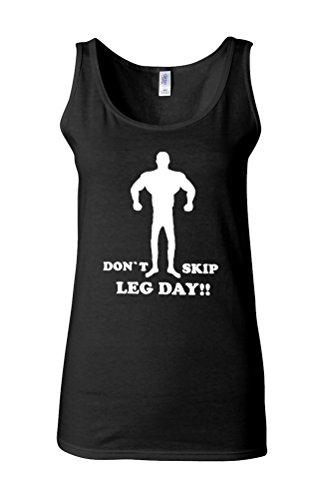 Do Not Skip Leg Day Gym Funny Novelty White Femme Women Tricot de Corps Tank Top Vest *Noir