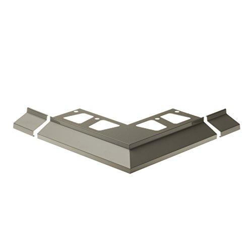 CEZAR W-AL-OKAP100Z-106-0218 Winkel + Verbinder (Komplett) für Terrassenprofil, Hellgrau, 2 Stück (Al-winkel)