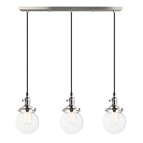 ☞ Retro Industrie Pendelleuchte Vintage 3-Lights Hängelampe Glas Lampenschirm E27 Lampenfassung Kreatives Wohnzimmer Esszimmer Esszimmer Tisch Schlafzimmer Studie Deckenbeleuchtung Edelstahl gebürstet
