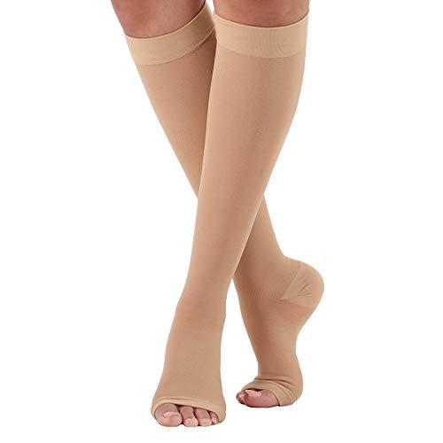 Calzini a compressione, calze elastiche a compressione zero 23-32 mmhg calze a compressione medicali aperte calze a manica scoperta per vene varicose (color : skin color xxl)