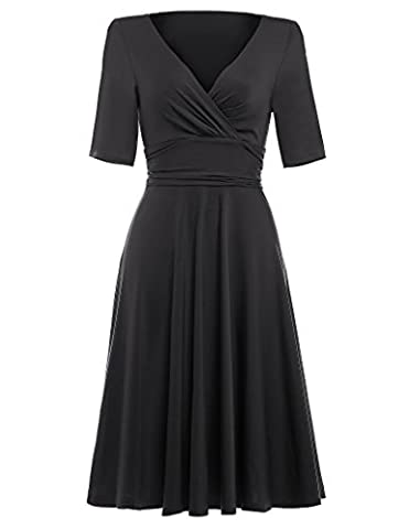 50s dress rockabilly damen schwarz casual kleid motto partykleid cocktailkleider