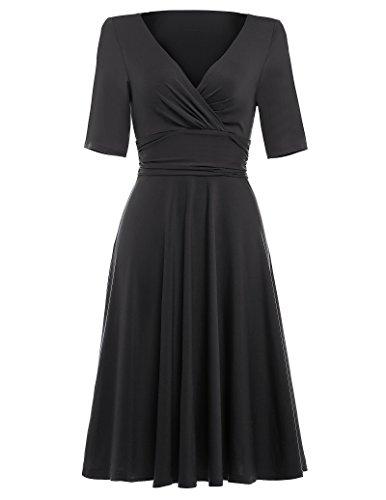 Für Kleider Frauen Schwarze (40s 50s 60s retro vintage petticoat kleid schwarz freizeitskleid damen festliches Kleid M BP006-1)
