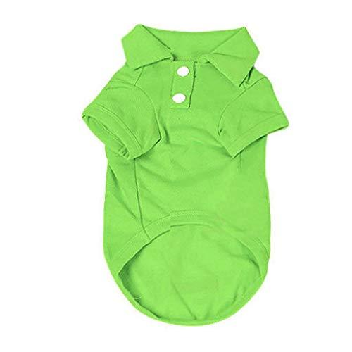 AMURAO Sommer Haustier Hund Shirt Welpe Volltonfarbe geknöpft Kurzarm atmungsaktive Katze Kleidung Top Kostüm