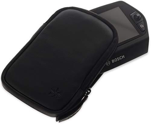 honju Bike Echtledertasche für Bosch Nyon E-Bike / Pedelec (Displayschutz, Innentasche für Schlüssel, Schutz vor Kratzer & Schmutz) - schwarz
