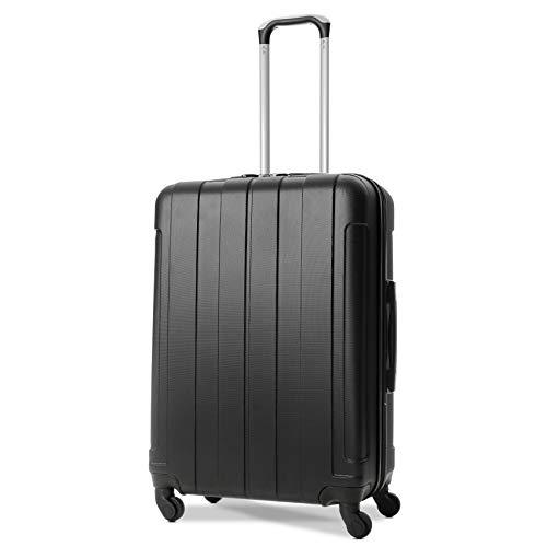 EONO Essentials Trolley in ABS - Bagaglio da stiva - Valigia rigida e leggera con 4 Ruote - altezza: 71cm; capienza: 76L - Nero