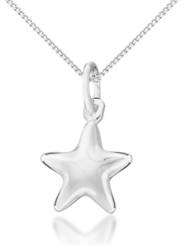 """Tuscany Silver Sterling Silver Plain Star Pendant on Curb Chain of 41cm/16"""""""