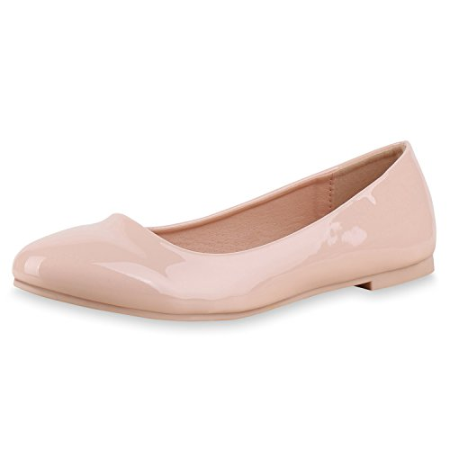 napoli-fashion Klassische Damen Ballerinas Leder-Optik Slipper Flats Glitzer Metallic Party Abschlussball Hochzeit Damen Ballerinas Rosa Glanz 39 Jennika (Rosa Ballerinas)