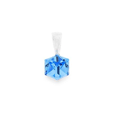 Ana Morales Pendentif en cristaux Swarovski exclusifs et argent sterling 925 avec chaine en argent 47cm bleu clair