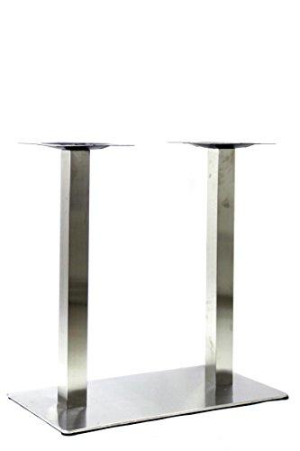 Tischgestell 72 cm, Tischfuß doppel, Edelstahl Gestell, rechteckiger Fuß,