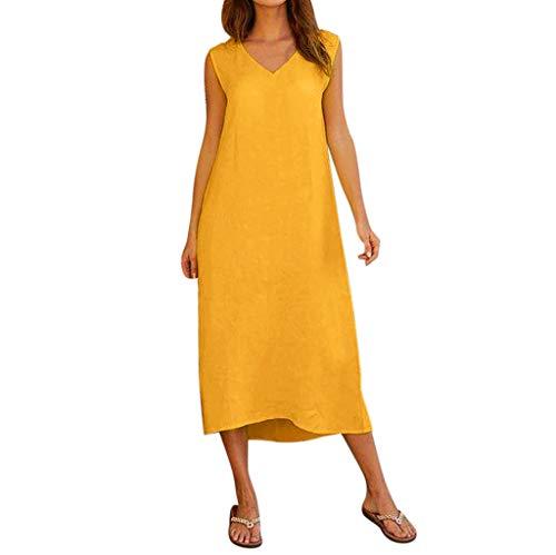HWTOP Kleider Damen Sommer Ärmellos Sommerkleid V-Ausschnitt Baumwolle Leinen Freizeitkleid Für Lang Baumwolle Leinen Maxi Beach Dress, Gelb -
